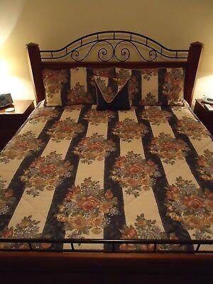 KING BLUE GOLD BRGNDY BED COMFORTER 4 SHAMS BEDSKIRT THROW PILLOW 7 PIECE SET ()