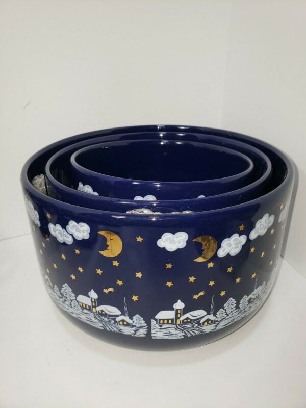 3 Retired Waechtersbach Winter Dreams Midnight Blue Serving Bowls EXC