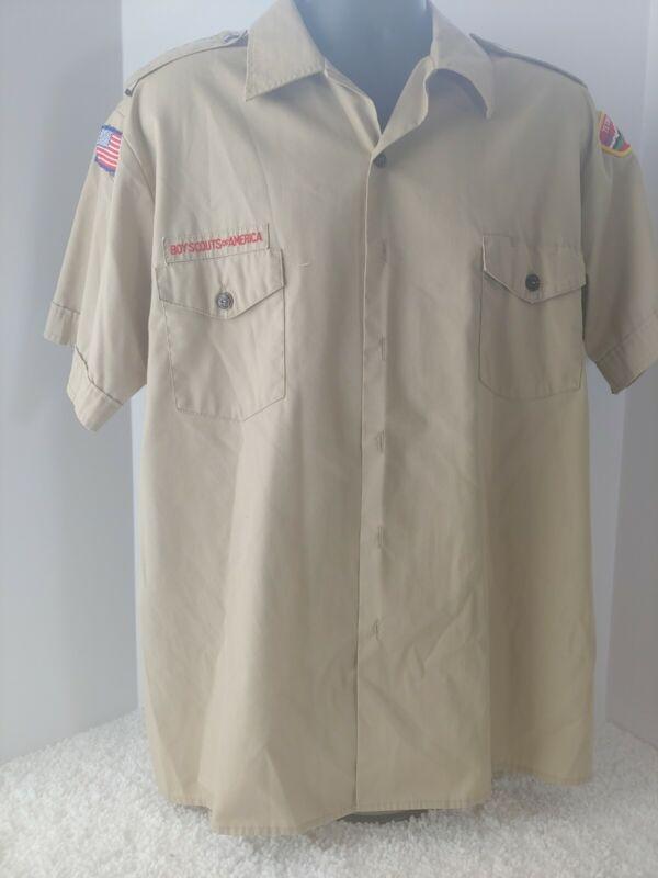 Vintage BOY SCOUTS of AMERICA Uniform Shirt w/ patches Size XL