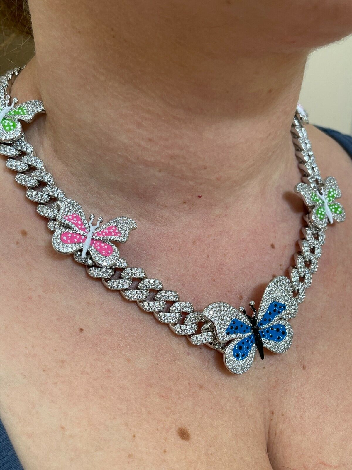 Real Hip Hop 12mm Miami Cuban Chain Choker Necklace Butterfly Iced Silver Choker 6