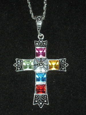 STAINED GLASS CROSS NECKLACE WITH SILVER TONE ACCENTS NEW - Stained Glass Crosses