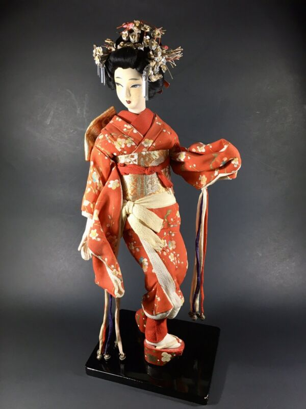 """VINTAGE Authentic Japanese Hand Made Geisha Doll Beautiful Painted Face 15.5"""""""