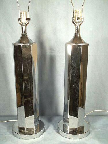 PAIR OF TALL MID CENTURY MODERN HEXAGONAL SONNEMAN CHROME LAMPS