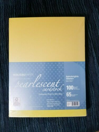 Wausau Pearlescent 65 LB Cardstock Solar Yellow Astrobrights Glisten 300 sheets
