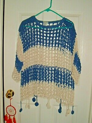 - Blue and white striped open crochet tunic w/ dingle balls - 3/4 sleeve one size