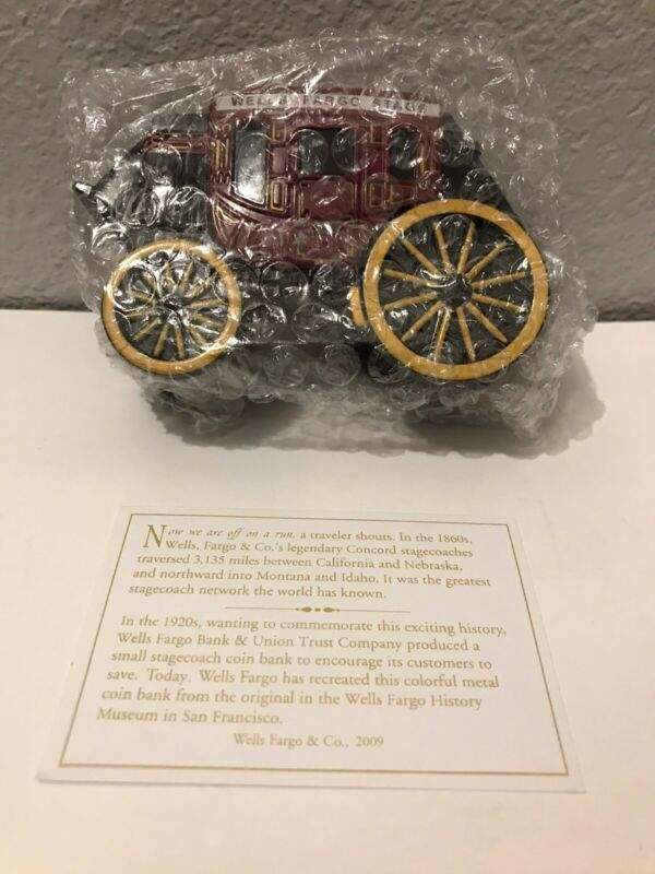 Wells Fargo San Francisco Cast Iron Stage Coach Bank with Key, Box & WFCO card