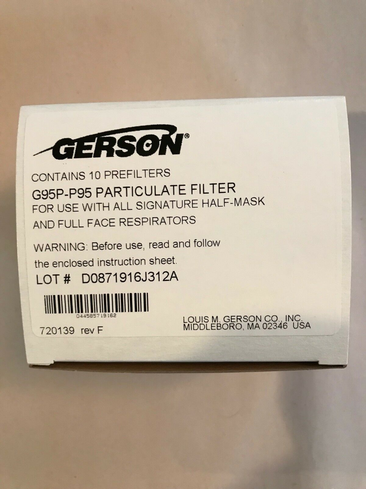 Owner Gerson G95P P95 Particulate Filter - Pack of 10 Filters - Free Shipping