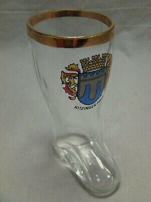 Kitzingen Main Boot Shaped Clear Shot Glass Bavaria Germany Coat of Arms - Boot Shaped Glass