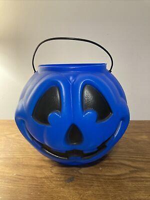 Halloween Trick Or Treat Blue Pumpkin Pail Bucket Vintage General Foam Plastics