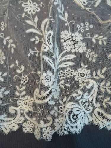 Antique Early Airy Silk Blonde Bobbin Lace Large Dress Front Scarf Collar Panel