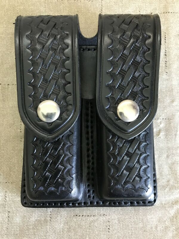 Aker 510-3 Double Magazine Leather Pouch Basket Weave