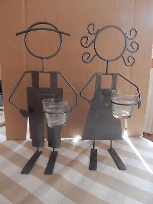 Metallfiguren Mädchen und Junge mit Gläsern für Kerzen oder Deko