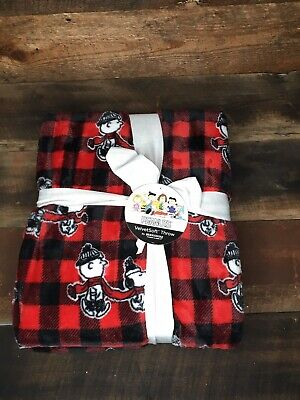 Peanuts Snoopy Charlie Brown Buffalo Plaid Fleece THROW Blanket 55x70 Christmas