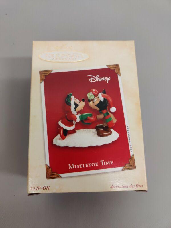 Hallmark Keepsake Ornament Mickey Minnie Mouse Mistletoe Time 2003 NIB