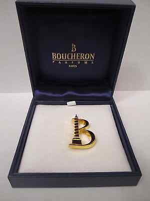 Reduced!! RARE BOUCHERON PARFUMS Gold metal BROOCH Pin - New in Box
