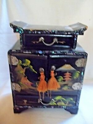 VINTAGE SMALL ASIAN LACQUER JEWELRY BOX WITH DOORS & DRAWERS MOTHER OF PEARL