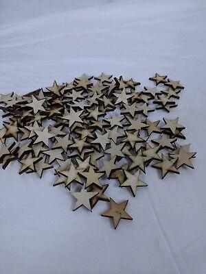 50 qty Small 1 3/4 inch Star Wood Embellishments Crafts Flag Wooden Decor DIY - Diy Wood Crafts