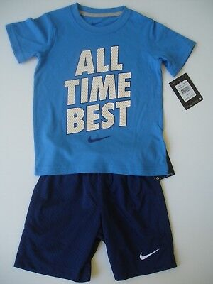 """NWT Boy 4 - Nike Outfit in Blue White Orange - """"All Time Best"""""""