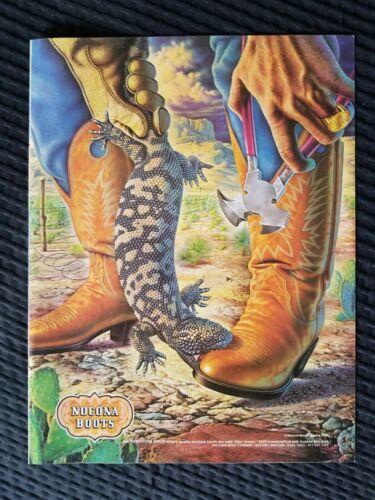 1980 Full Page Gila Monster Art Nocona Boots vintage Alex Ebel Print Ad