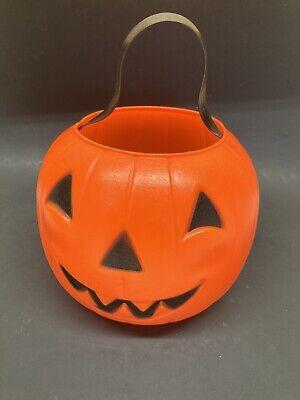 Vintage Pumpkin Jack O Lantern Blow Mold Candy Pail Bucket Treat 1980 Empire USA