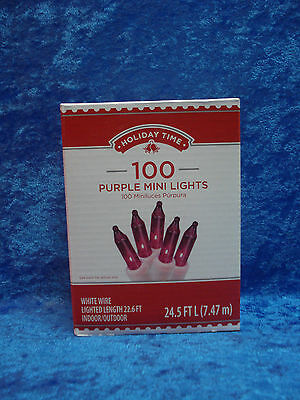 100 Purple Lights White Wire (Holiday Time 100 Purple Mini Lights White Wire Christmas )
