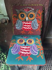 Pair of Embroidered Owl Picture Wall Hangings from Pier 1