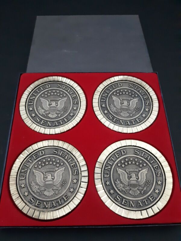 LOT OF 4 VINTAGE United States Senate Coasters Brass Coin USA in box