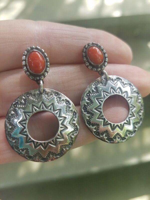 UNWORN Vintage Native American coral and stamped sterling silver earrings