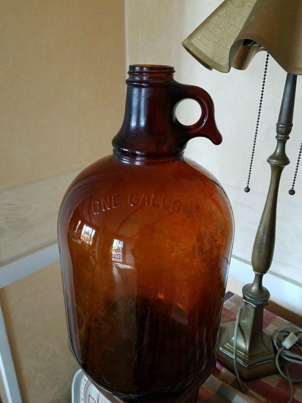 Duraglas Amber Glass Jug One Gallon Antique Vintage Collectible Decot Accent Hom