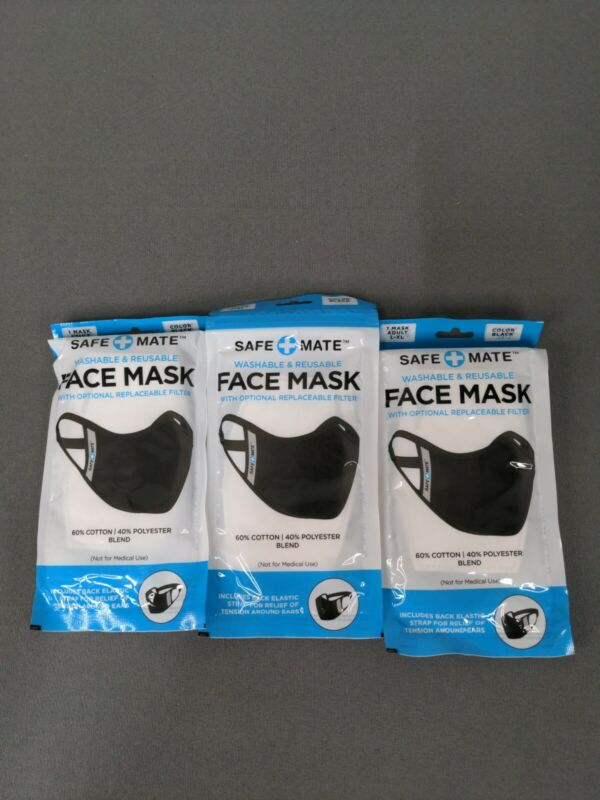 3 pack Safe+Mate Reusable Fabric Face Mask w Strap & Filter, Adult L/XL Black