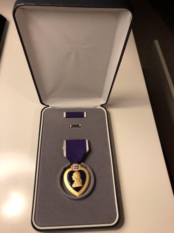 US Military Merit Purple Heart Medal Ribbon Lapel pin In Case- Named