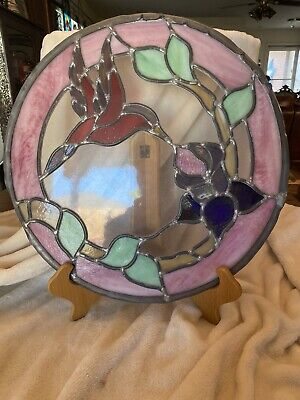 """Beautiful Circle Stained Glass Window Panel Hummingbird 16"""" X 16"""" & Wooden Stand"""