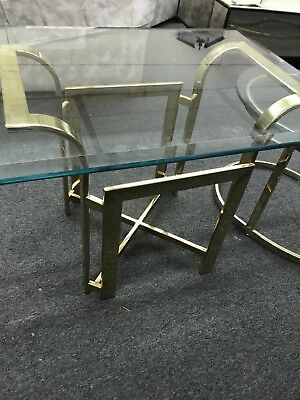 Milo Baughman style MCM Hollywood Regency Flat Bar glass End Table 1