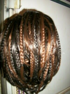 Short Clip on Hair Piece with micro braids NWT color #6/27 DARK BROWN/COPPER RED