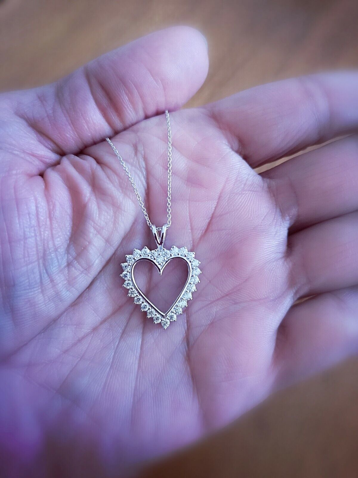 1.25 Ct Diamond Heart Pendant Womens Necklace 14K White Gold over with Chain 8