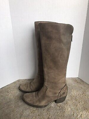 Tall Leather Boots (Womens Born Tall Soft Brown Leather Boots Sz)