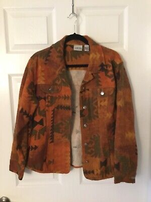 Chicos Size 2 Orange With Multicolor Long Sleeve Jacket/Shirt