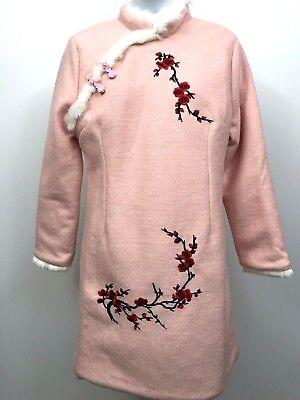 Winter Wool Dress Snow Princess Ski Bunny  Asian Cheongsam Fur Trim M L - Asian Princess Dress