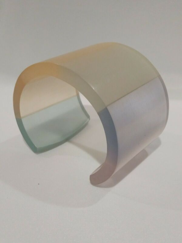 Vintage 80s Lucite Acrylic Bangle Cuff Bracelet Frosted Opaque Pastel Colors !