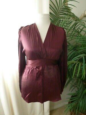 Dark Red Wine - Spiegel Wine Dark Red 100% Silk Empire Wrap Blouse Shirt Size XL NWoT