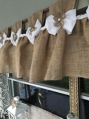 New French old-time Twine -Shabby Rustic Chic BURLAP Curtain Valance Country