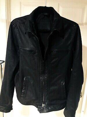 ALLSAINTS Mens Lark Biker Leather Jacket - size SMALL - MATTE Black