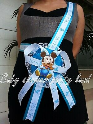 Baby Mickey Mouse (Baby Shower Mickey Mouse Mom To Be It's a Boy Sash Blue Ribbon with Corsage)