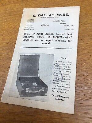 E DALLAS WISE - HISTORIC CATALOGUE DATED AUG. 1951 For EX-GOVERNMENT SURPLUS