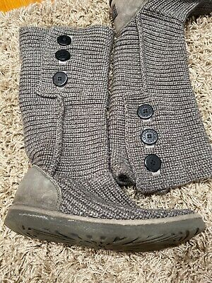 UGG Australia Classic Cardy Gray Knit Sweater Boots 5819 Women's US 10 Uggs