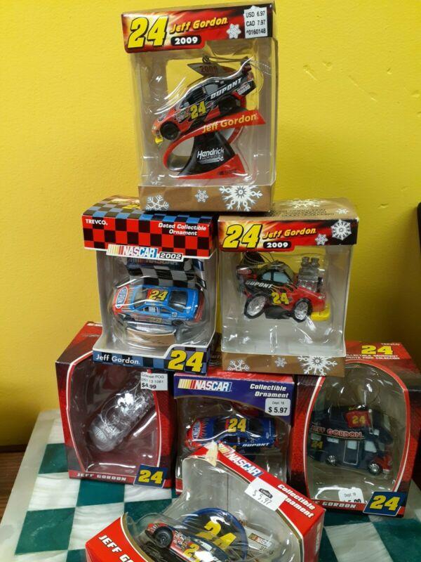 Jeff Gordon Christmas Ornament Lot (7) NASCAR Trevco Collectible Decorations