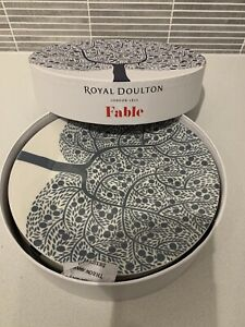 Royal doulton fable 4 plates 22cm tree red blue grey green