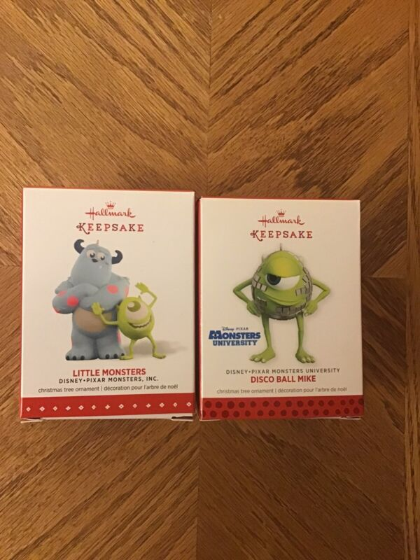 Lot of 2 Hallmark ornaments 2015 Little Monsters 2013 Disco Ball Mike NEW Disney