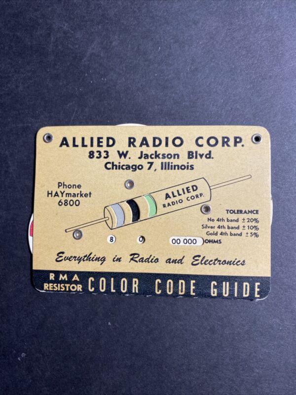Allied Radio Corp. RMA Resistor Color Code Guide, Standard 3-Color Code, Chicago