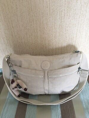 GORGEOUS KIPLING IZELLAH SHOULDER/CROSSBODY BAG IN STONE WITH MARIE MONKEY